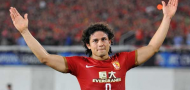 Brazilian Elkeson celebrates scoring for Guangzhou in the semi-final, image courtesy of China Daily