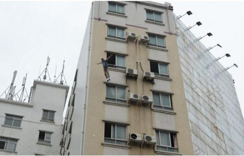 Heyuan jumper murder suspect air mattress building suicide attempt