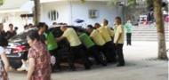 henan dancing grannies move car