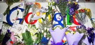 Memorial of flowers at Google's headquarters in Beijing right before the company left China in 2010.