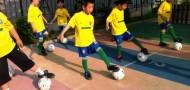 children student soccer training